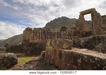 Ancient Inca temple of the sun, Intihuatana at the sacred valley, Pisac, Peru.
