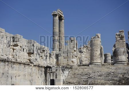 View of Temple of Apollo in antique city of Didyma / Turkey