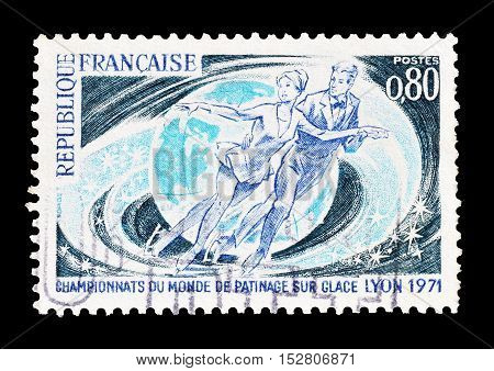 FRANCE - CIRCA 1971 : Cancelled postage stamp printed by France, that shows Ice skating.