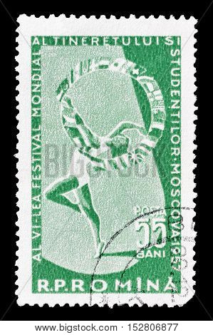 ROMANIA - CIRCA 1957 : Cancelled postage stamp printed by Romania, that shows Gymnast.