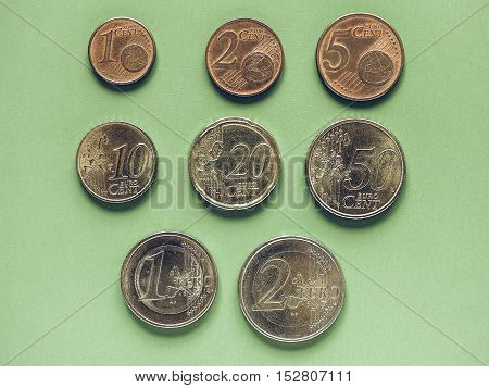 Vintage Euro Coins Money