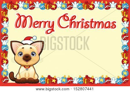 Christmas card with happy young cat. Vector illustration