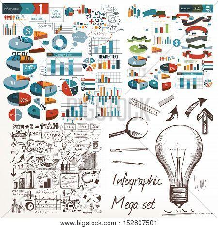 Big infographic and diagram business design elements vector set