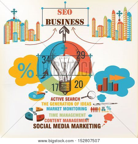 Business infographic background. Seo social media marketing strategy search management. Urban work concept