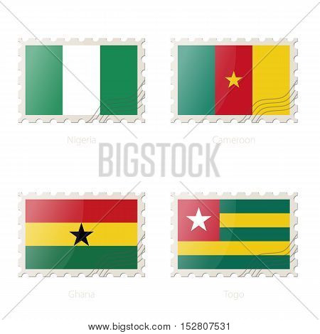 Postage Stamp With The Image Of Nigeria, Cameroon, Ghana, Togo Flag.