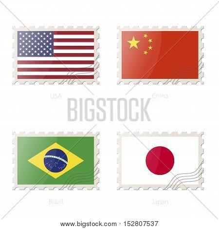 Postage Stamp With The Image Of Usa, China, Brazil, Japan Flag.