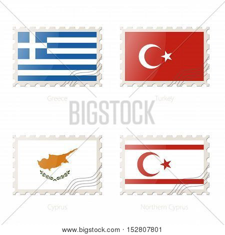 Postage Stamp With The Image Of Greece, Turkey, Cyprus, Northern Cyprus Flag.