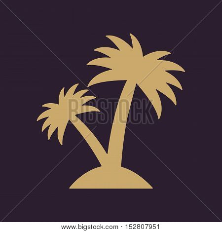 The palm icon. Island symbol. Flat Vector illustration. Button Set
