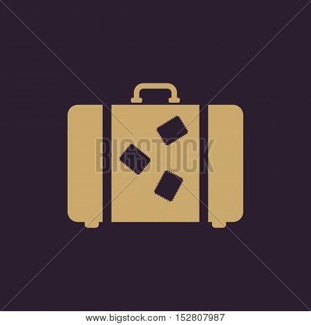 The suitcase icon. Luggage symbol. Flat Vector illustration