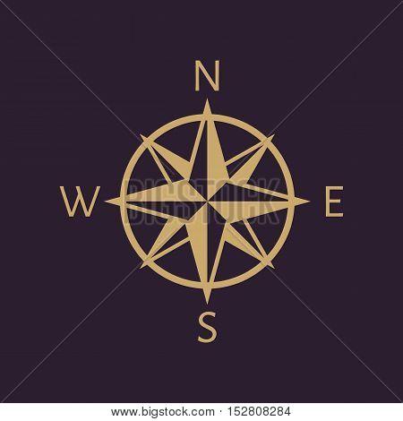 The compass icon. Navigation symbol. Flat Vector illustration