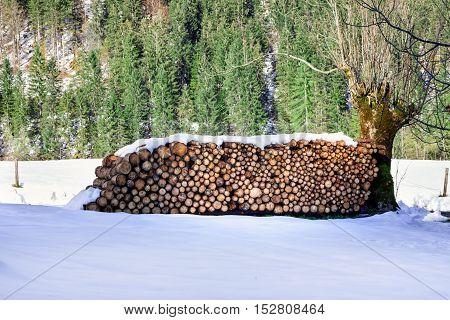 Firewood stacked. Winter alpine rural scene. Austria,Tirol.