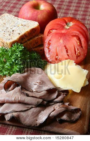 Roast beef sandwich ingredients.