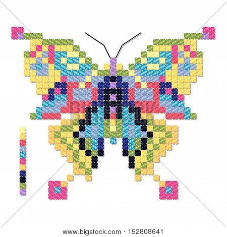 Vector isolated object imitates cross stitch. Colorful butterfly. Easy exchange of colors.
