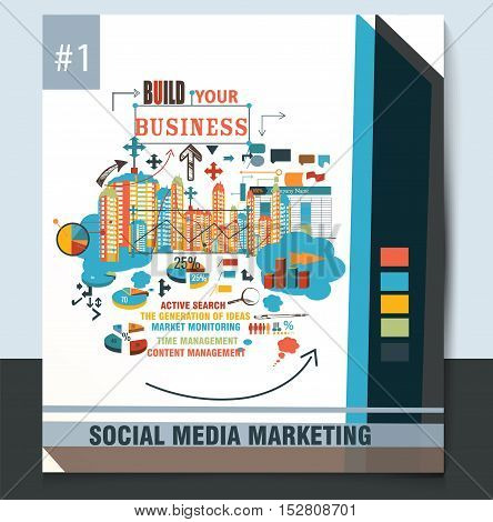Business report brochure design template vector cover presentation abstract style with diagrams city silhouettes and web elements