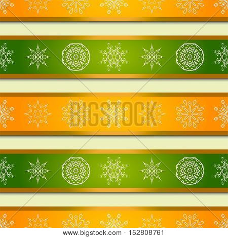 Christmas background with bright orange and green stripes and mandalas snowflakes. Vector background