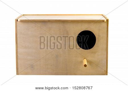 Nest box bird house isolated on white. Image included clipping path.