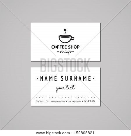Coffee shop business card design concept. Logo with cup and heart. Vintage hipster and retro style.