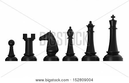 Black Chess Pieces isolated on white background. 3D render