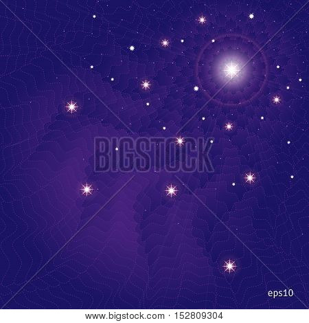 Abstract background. Night sky with the stars and waves in a dark purple color.