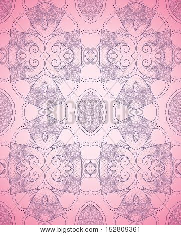 Abstract seamless background. Filigree design in pink and purple colors with a gradient. Easy to change colors.