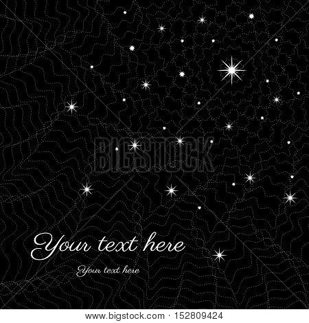 Abstract background. Night sky with the stars and wavesr. Black and white. Place for your text.