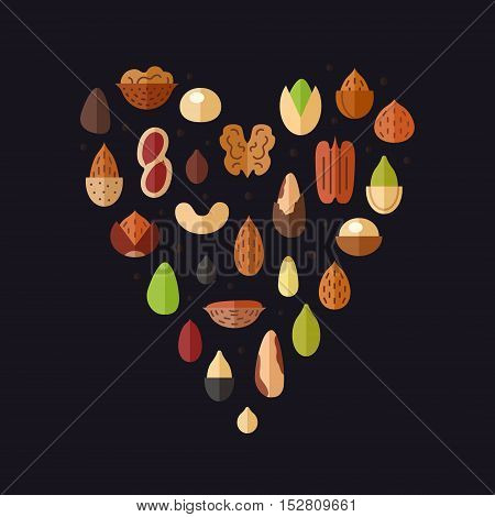 Nuts and seeds heart vector flat illustration on the black background.