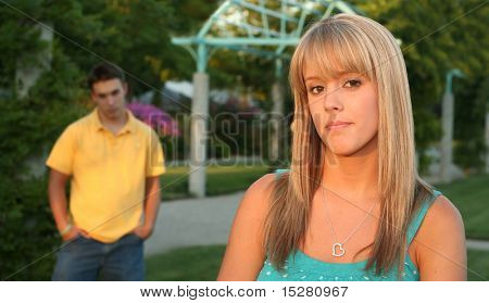 Beautiful girl, angry at her boyfriend.