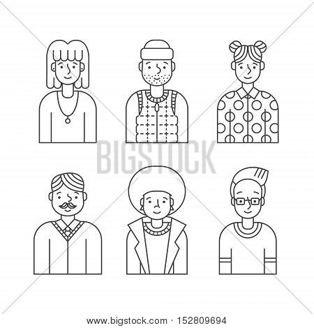 People outline gray icon vector set (men and women). Clean and simple design. Part four.