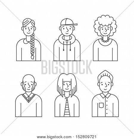 People outline gray icon vector set (men and women). Clean and simple design. Part two.