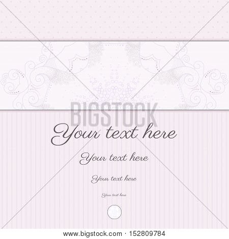 Vector abstract background with sample text in soft colors. Decor is delicate and filigree. Perfect as invitation or congratulation. Color easily changed.