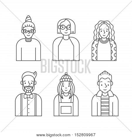 People outline gray icon vector set (men and women). Clean and simple design. Part six.