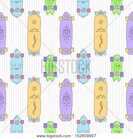 Skateboards and longboards cartoon vector seamless pattern (orange purple blue green). Part two.