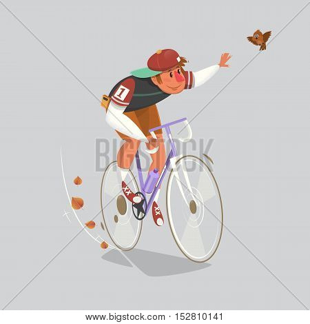 Racing cyclist in action. Editable vector illustrations