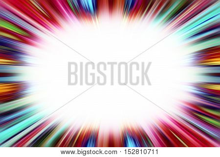 Colourful starburst explosion border with white copyspace centre
