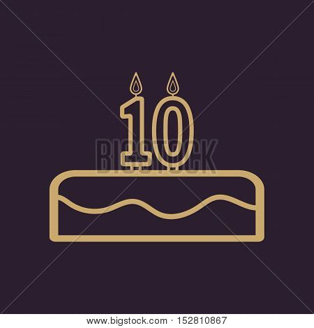 Cake with candles in the form of number 10 icon. birthday symbol. Flat Vector illustration