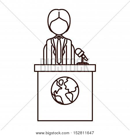 avatar man on tribune for speech with earth planet icon. vector illustration
