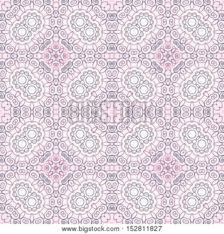 Abstract seamless background. Filigree vector design. Beautiful pink geometric pattern with gentle details.