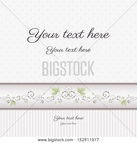 Vector greeting card. Can be used as an invitation or announcement. Strawberries with flowers and leaves. Colors are easily editable.