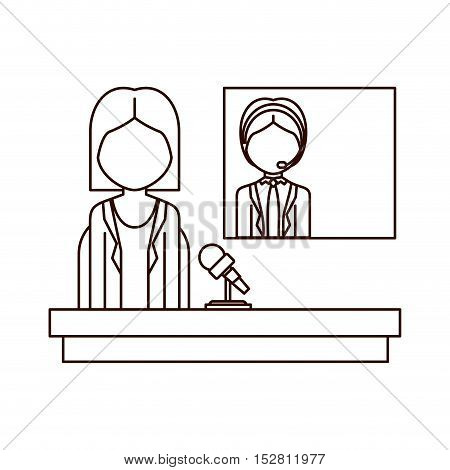 avatar journalist woman with reporter man transmission. broadcasting concept design. vector illustration