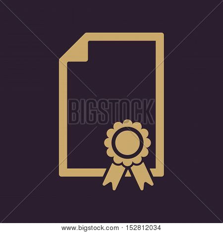 The certificate icon. Diploma symbol. Flat Vector illustration