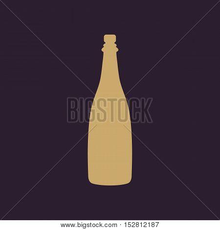 The champagne icon. Wine symbol. Flat Vector illustration