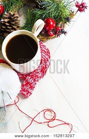 Cup Of Coffee With Red Scarf