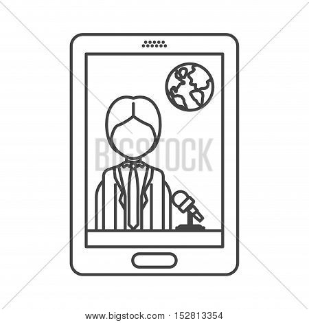 smartphone with news journalist man and earth icon on screen. vector illustration