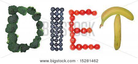 Dieta enunciados nas frutas e legumes.