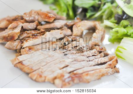 pork steak or sliced pork with vegetable dish