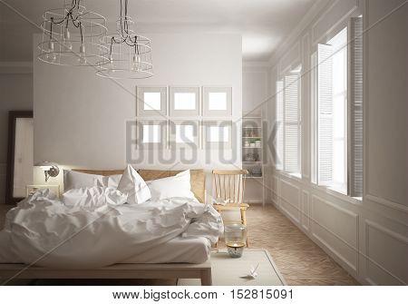 Scandinavian minimal bedroom, interior design, 3d illustration