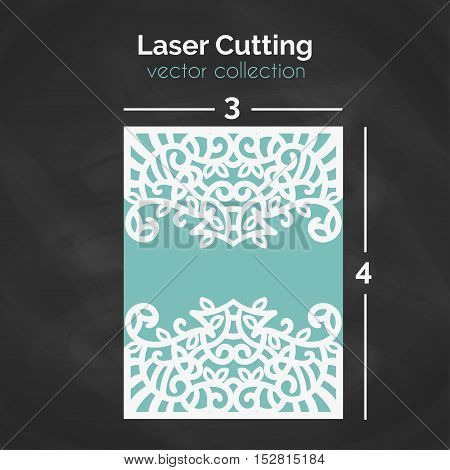 Laser Cutting Template. Carverd Greeting Card. Cutout Illustration With Ornamental Lace Decoration For Wedding Invitation Cards. Die Cut Pattern. Vector Design.