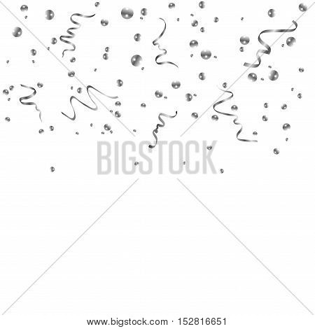 Silver confetti celebration isolated on white background. Falling abstract decoration for party birthday celebrate anniversary or event festive. Festival decor. Vector illustration