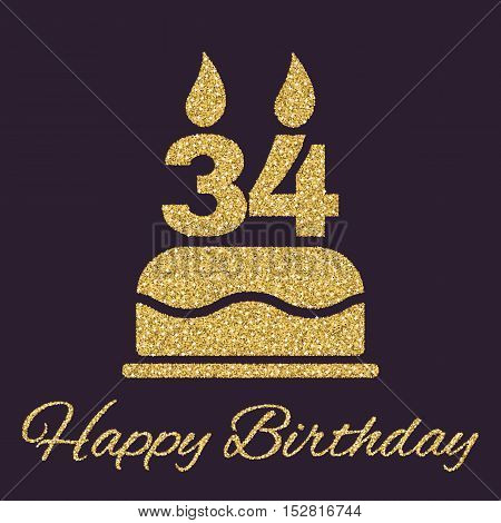The birthday cake with candles in the form of number 34 icon. Birthday symbol. Gold sparkles and glitter Vector illustration