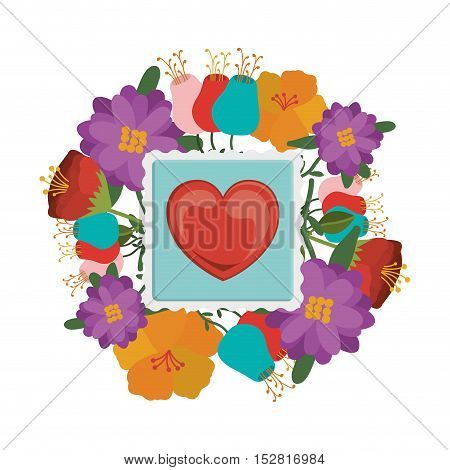 red heart post stamp over flowers frame and white background. vector illustration